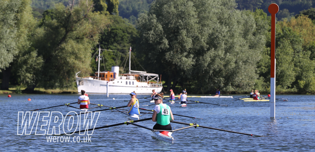 Scullers lining up at the start at Henley Women's Regatta