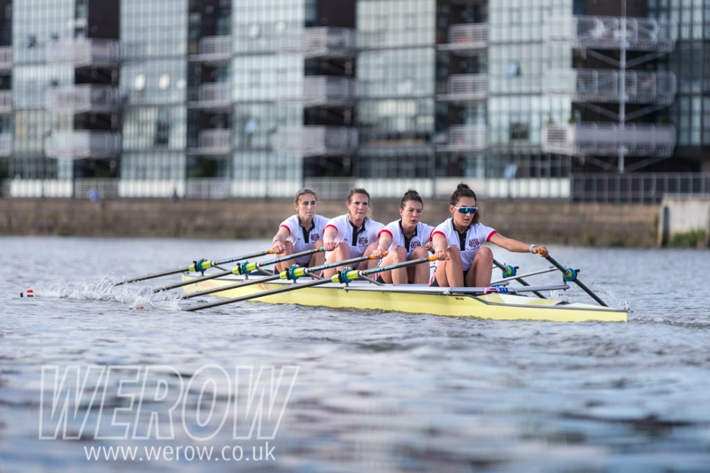 Thames Rowing Club championship quadruple scull practicing for Henley Women's Regatta on the Tideway